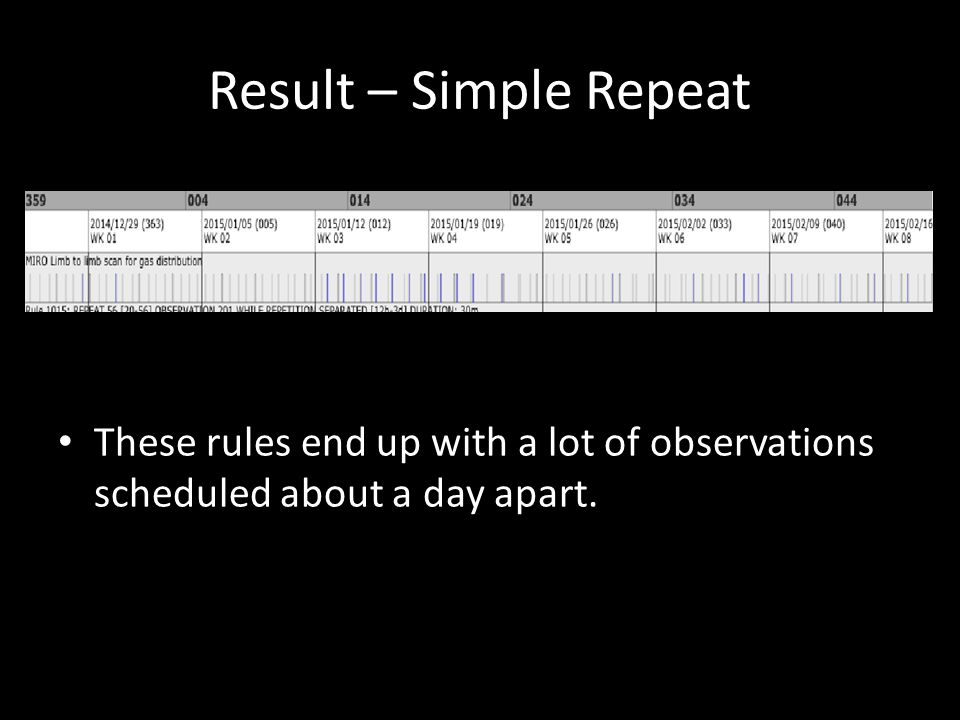 Result – Simple Repeat These rules end up with a lot of observations scheduled about a day apart.