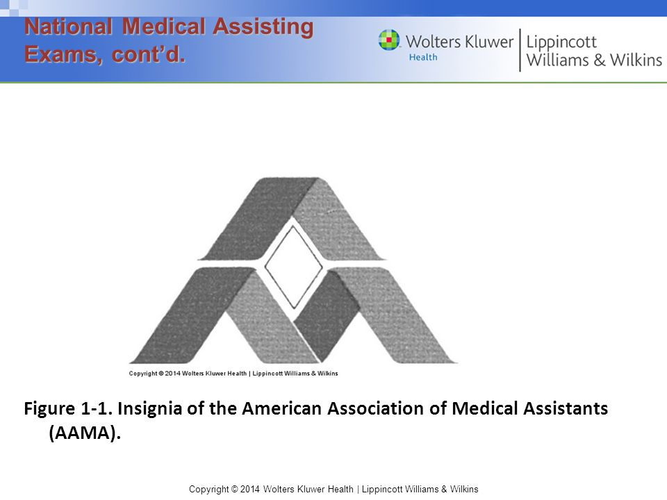 Copyright © 2014 Wolters Kluwer Health | Lippincott Williams & Wilkins Figure 1-1. Insignia of the American Association of Medical Assistants (AAMA).