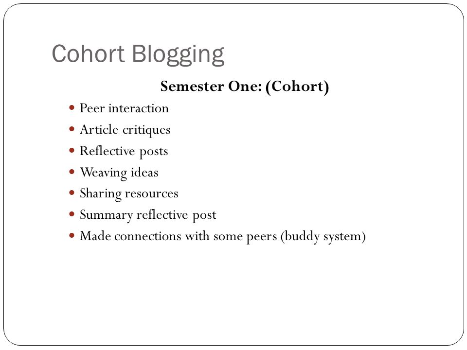 Cohort Blogging Semester One: (Cohort) Peer interaction Article critiques Reflective posts Weaving ideas Sharing resources Summary reflective post Made connections with some peers (buddy system)
