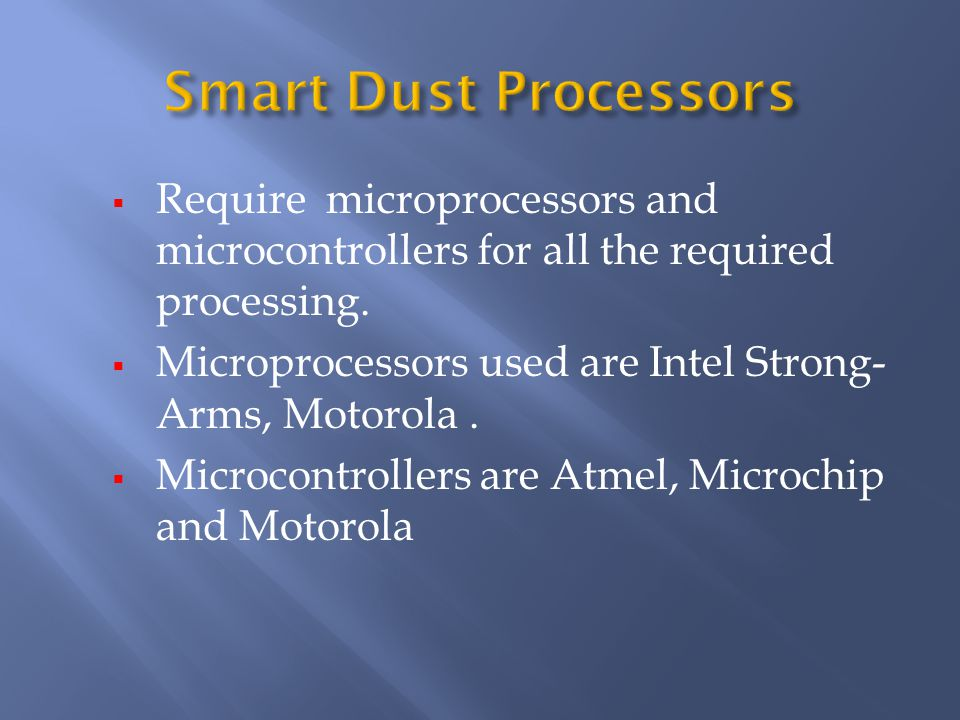 Require microprocessors and microcontrollers for all the required processing.