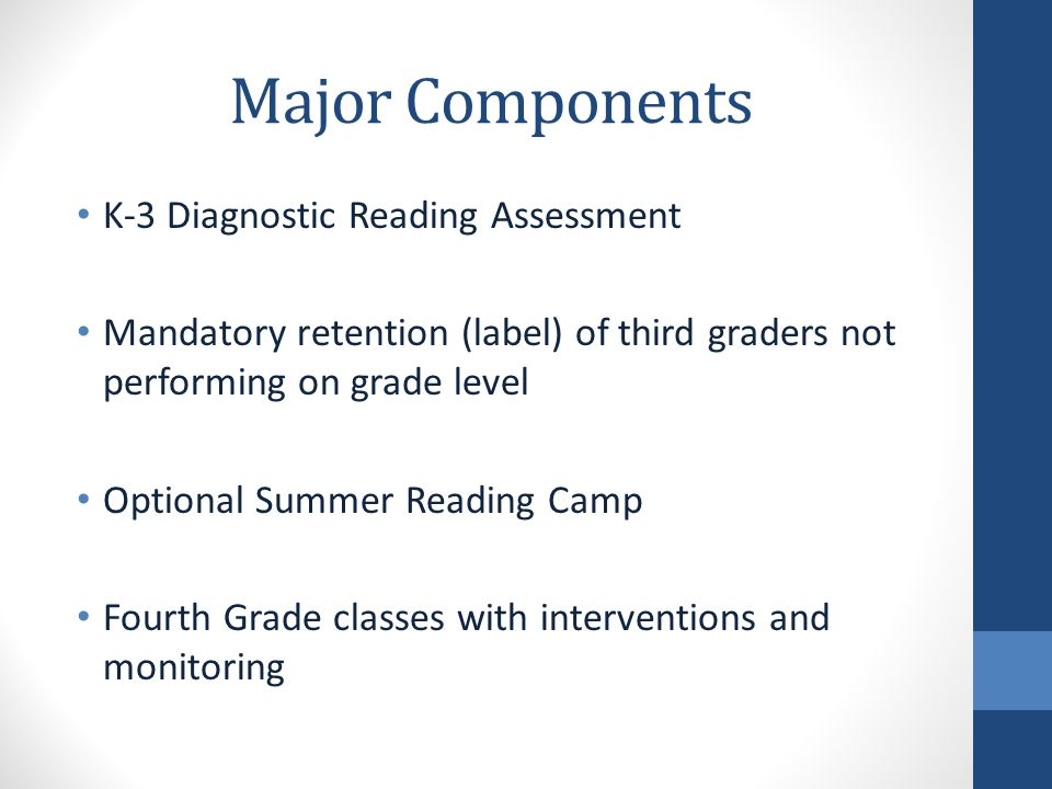 Early Grade Reading Proficiency K-3 Reading Foundational reading skills build deeper comprehension skills and success in other content areas Students are assessed three times per year – August/September, January/February, and May mClass Reading 3D assessments Assessments measure: phonics, phonemic awareness, fluency, vocabulary, and comprehension Provide information to teachers for instructional decisions Monitor student progress more frequently as needed Home Connect letter