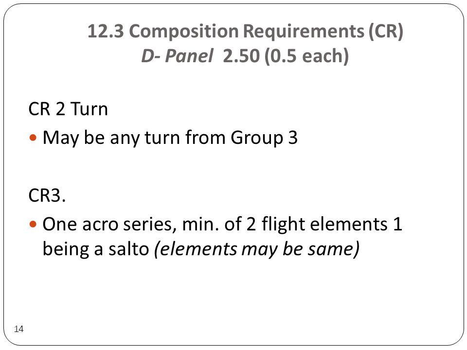 12.3 Composition Requirements (CR) D- Panel 2.50 (0.5 each) 14 CR 2 Turn May be any turn from Group 3 CR3.