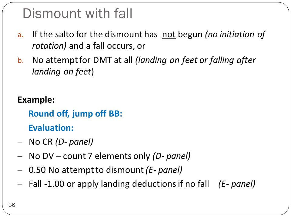 Dismount with fall 36 a.