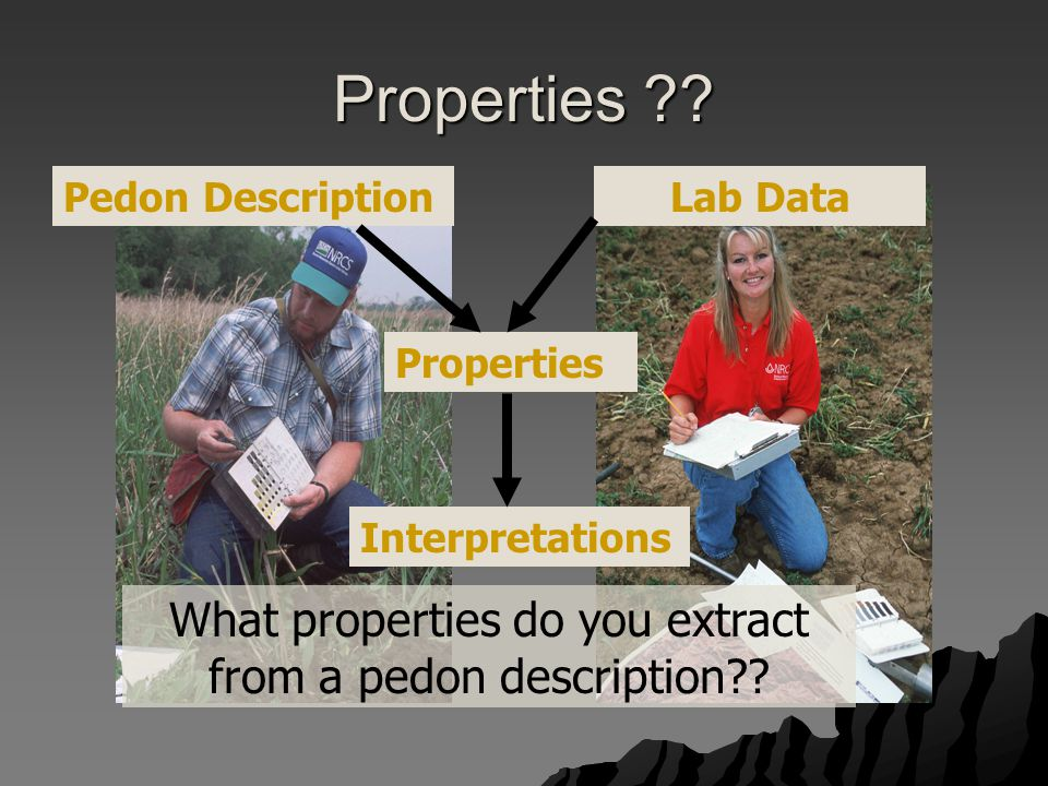 Properties ?.What properties do you extract from a pedon description?.