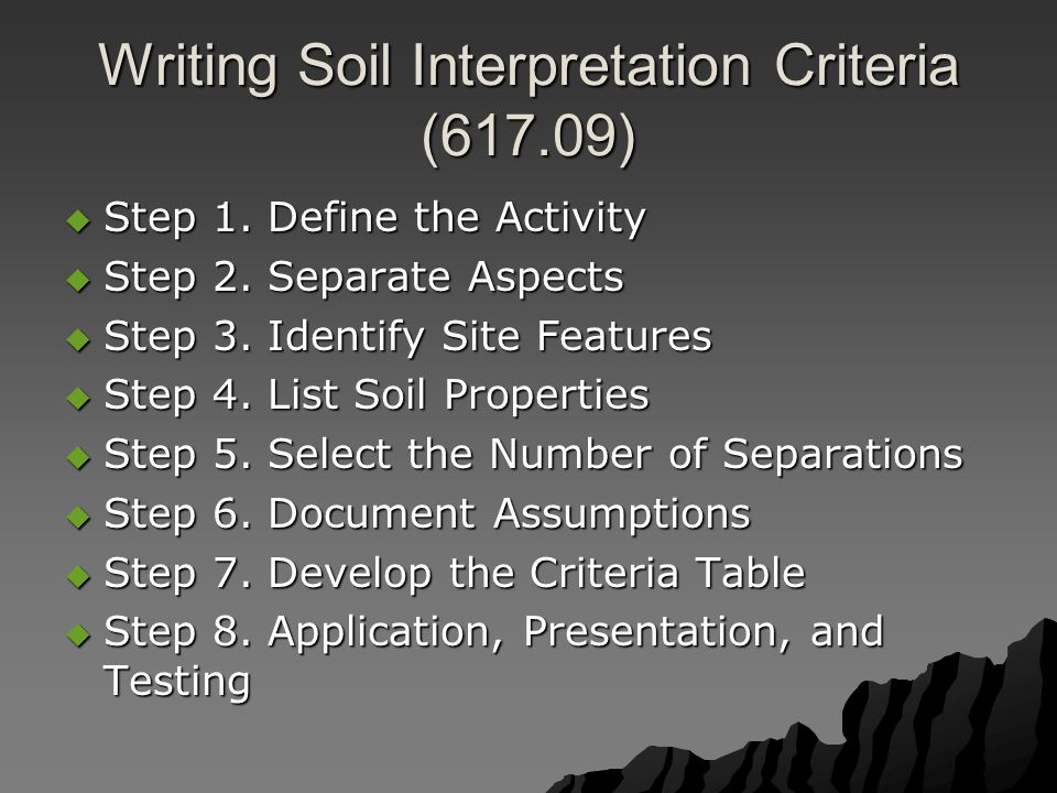 Writing Soil Interpretation Criteria (617.09)  Step 1. Define the Activity  Step 2. Separate Aspects  Step 3. Identify Site Features  Step 4. List
