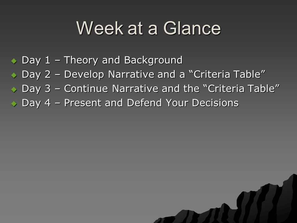 """Week at a Glance  Day 1 – Theory and Background  Day 2 – Develop Narrative and a """"Criteria Table""""  Day 3 – Continue Narrative and the """"Criteria Tab"""