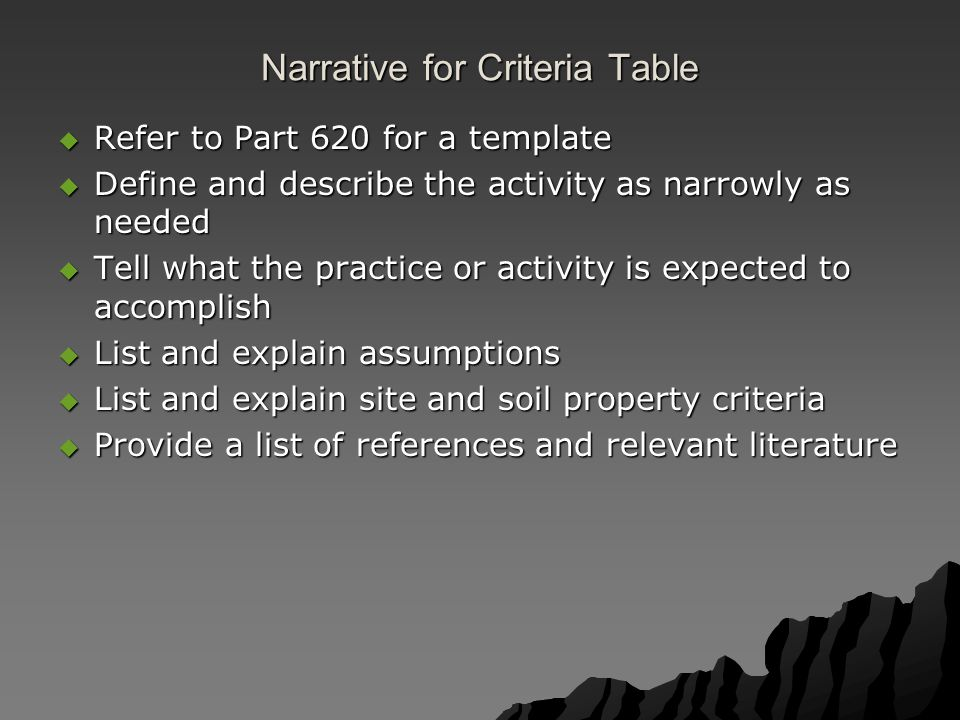 Narrative for Criteria Table  Refer to Part 620 for a template  Define and describe the activity as narrowly as needed  Tell what the practice or a