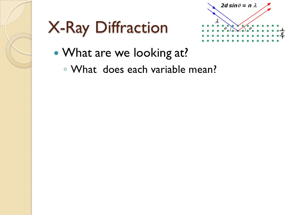 X-Ray Diffraction What are we looking at ◦ What does each variable mean