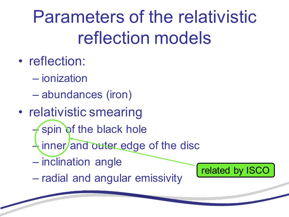 Parameters of the relativistic reflection models reflection: –ionization –abundances (iron) relativistic smearing –spin of the black hole –inner and outer edge of the disc –inclination angle –radial and angular emissivity related by ISCO