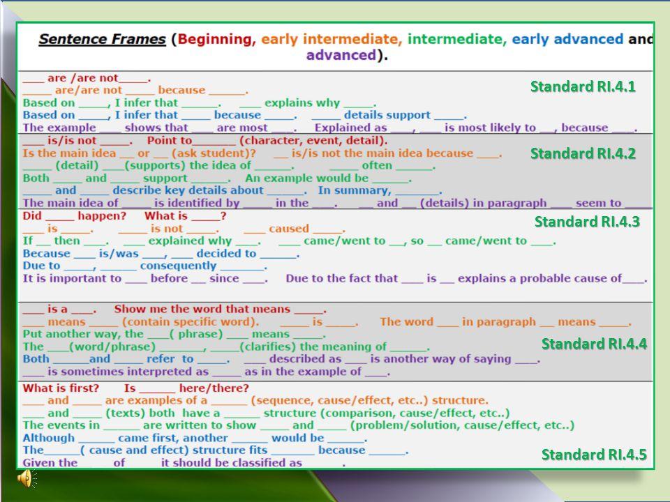 Standard RI.4.1 Standard RI.4.2 Standard RI.4.3 Standard RI.4.4 Standard RI.4.5