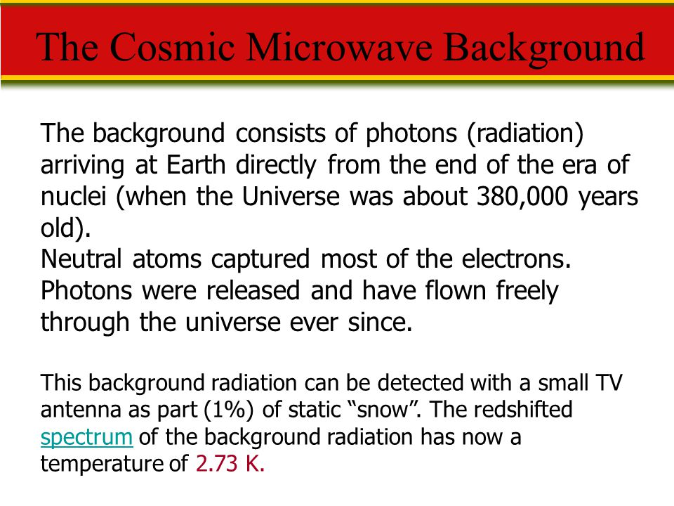 The Cosmic Microwave Background The background consists of photons (radiation) arriving at Earth directly from the end of the era of nuclei (when the