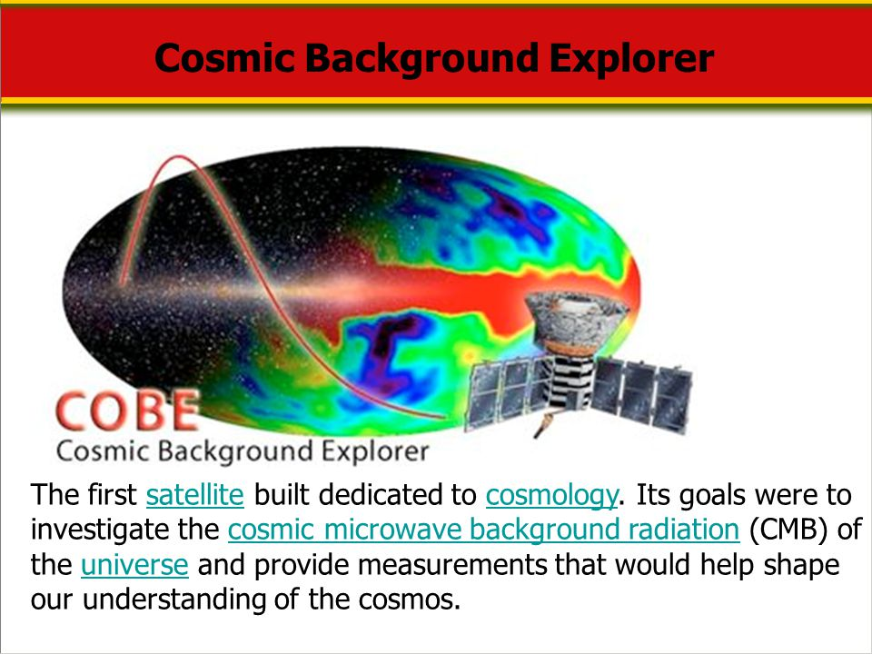 Cosmic Background Explorer The first satellite built dedicated to cosmology. Its goals were to investigate the cosmic microwave background radiation (