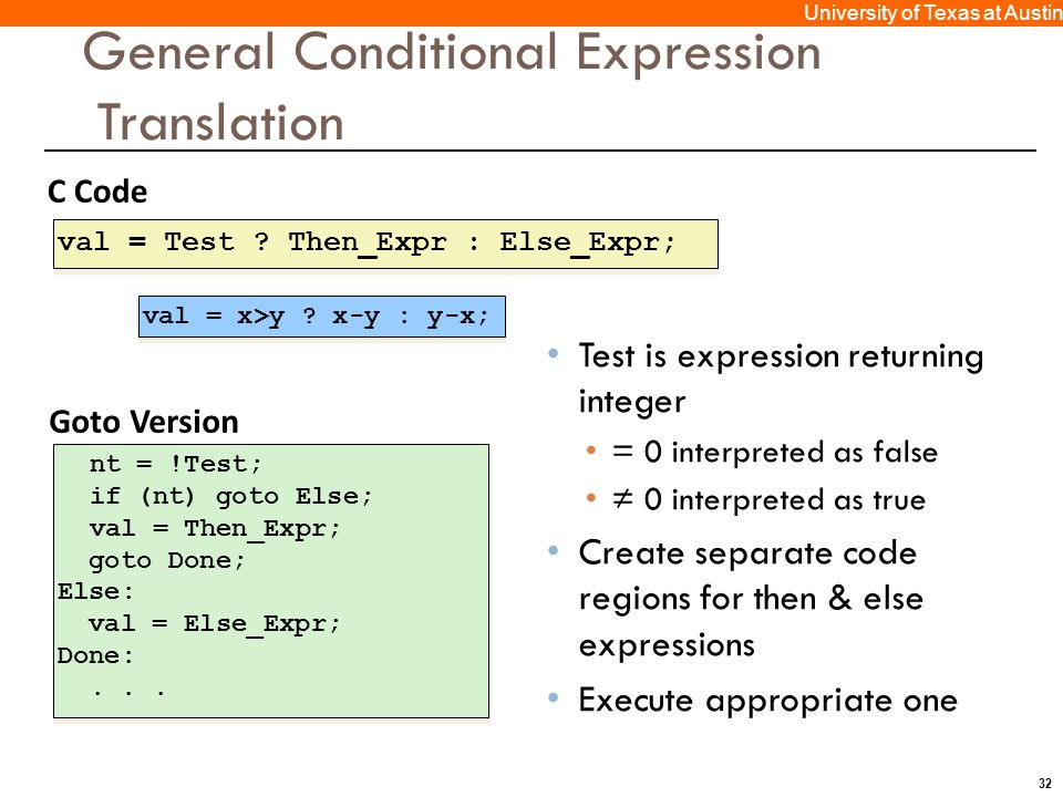 32 University of Texas at Austin C Code val = Test ? Then_Expr : Else_Expr; Goto Version nt = !Test; if (nt) goto Else; val = Then_Expr; goto Done; El