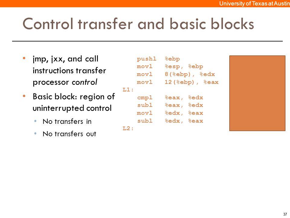 37 University of Texas at Austin Control transfer and basic blocks jmp, jxx, and call instructions transfer processor control Basic block: region of u