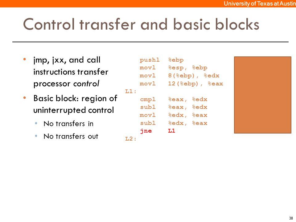 38 University of Texas at Austin Control transfer and basic blocks jmp, jxx, and call instructions transfer processor control Basic block: region of u