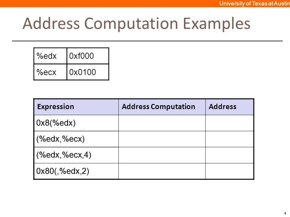 4 University of Texas at Austin Address Computation Examples ExpressionAddress ComputationAddress 0x8(%edx)0xf000 + 0x80xf008 (%edx,%ecx)0xf000 + 0x1000xf100 (%edx,%ecx,4)0xf000 + 4*0x1000xf400 0x80(,%edx,2)2*0xf000 + 0x800x1e080 %edx0xf000 %ecx0x0100 ExpressionAddress ComputationAddress 0x8(%edx) (%edx,%ecx) (%edx,%ecx,4) 0x80(,%edx,2)