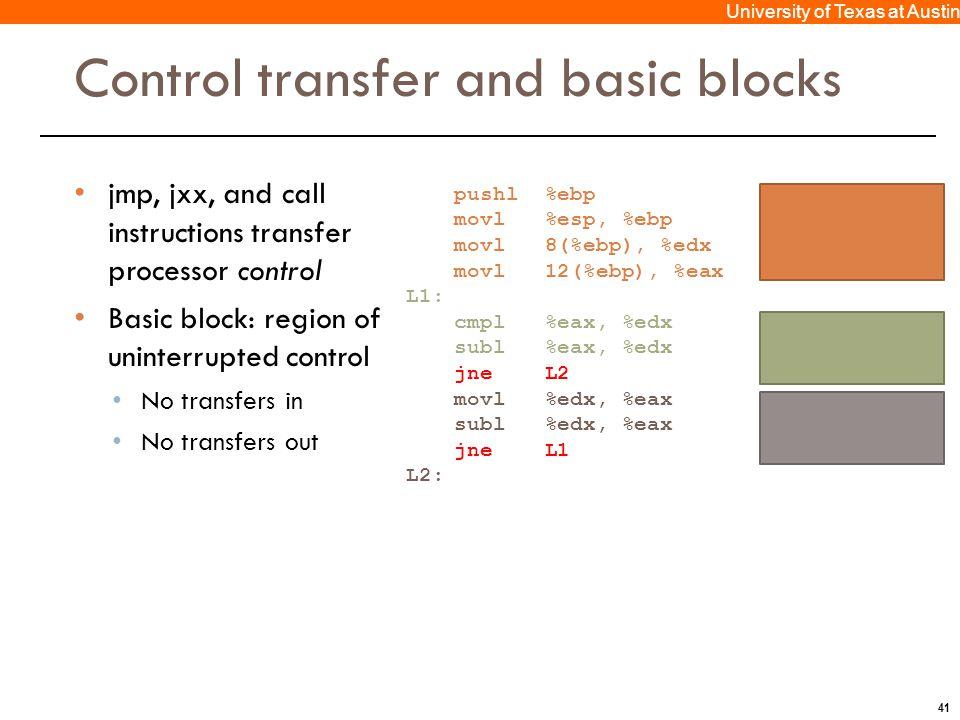 41 University of Texas at Austin Control transfer and basic blocks jmp, jxx, and call instructions transfer processor control Basic block: region of u
