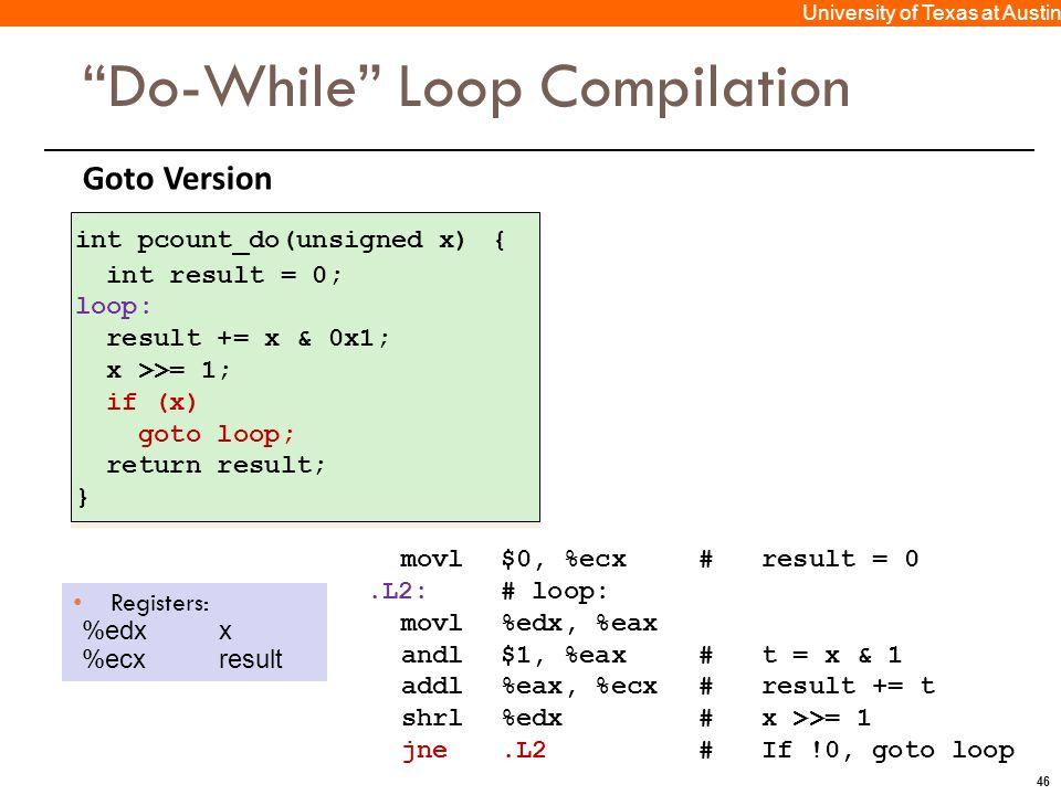 "46 University of Texas at Austin Goto Version ""Do-While"" Loop Compilation Registers: %edxx %ecxresult movl$0, %ecx# result = 0.L2:# loop: movl%edx, %e"