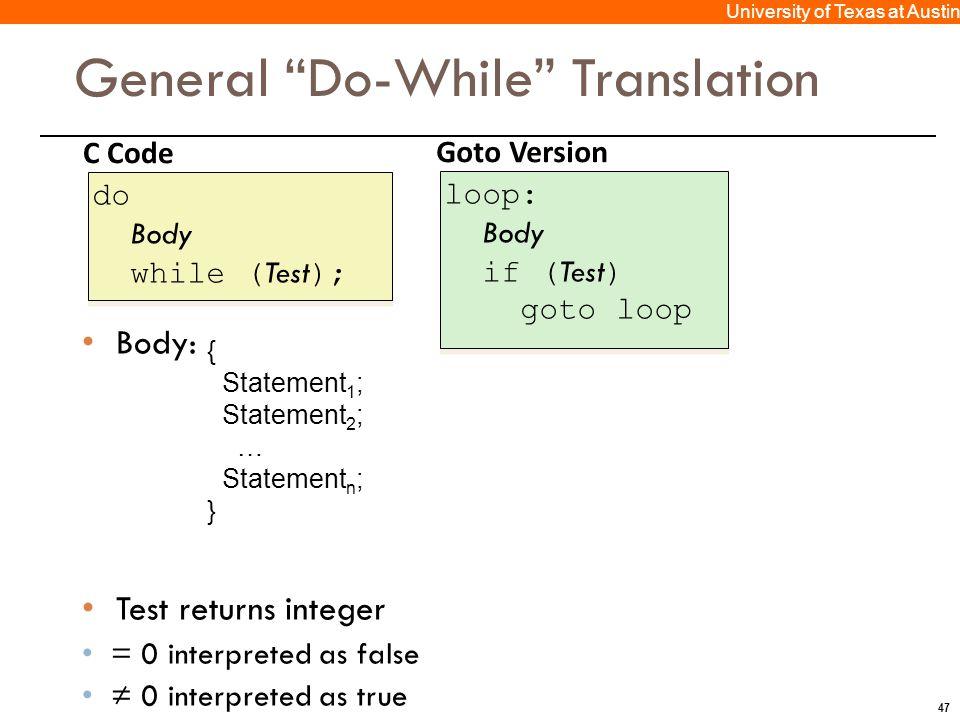 47 University of Texas at Austin C Code do Body while ( Test ); do Body while ( Test ); Goto Version loop: Body if ( Test ) goto loop loop: Body if (
