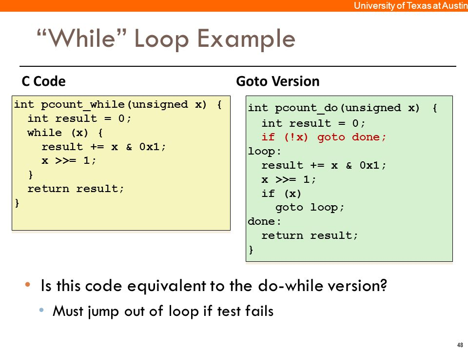 """48 University of Texas at Austin C CodeGoto Version """"While"""" Loop Example Is this code equivalent to the do-while version? Must jump out of loop if tes"""
