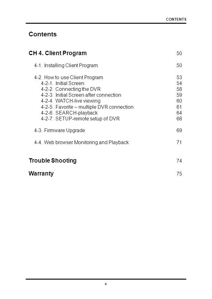 4 Contents CH 4. Client Program 50 4-1. Installing Client Program50 4-2.