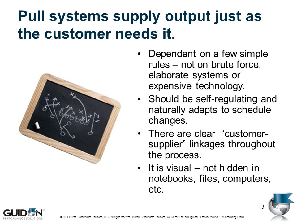 Pull systems supply output just as the customer needs it. Dependent on a few simple rules – not on brute force, elaborate systems or expensive technol