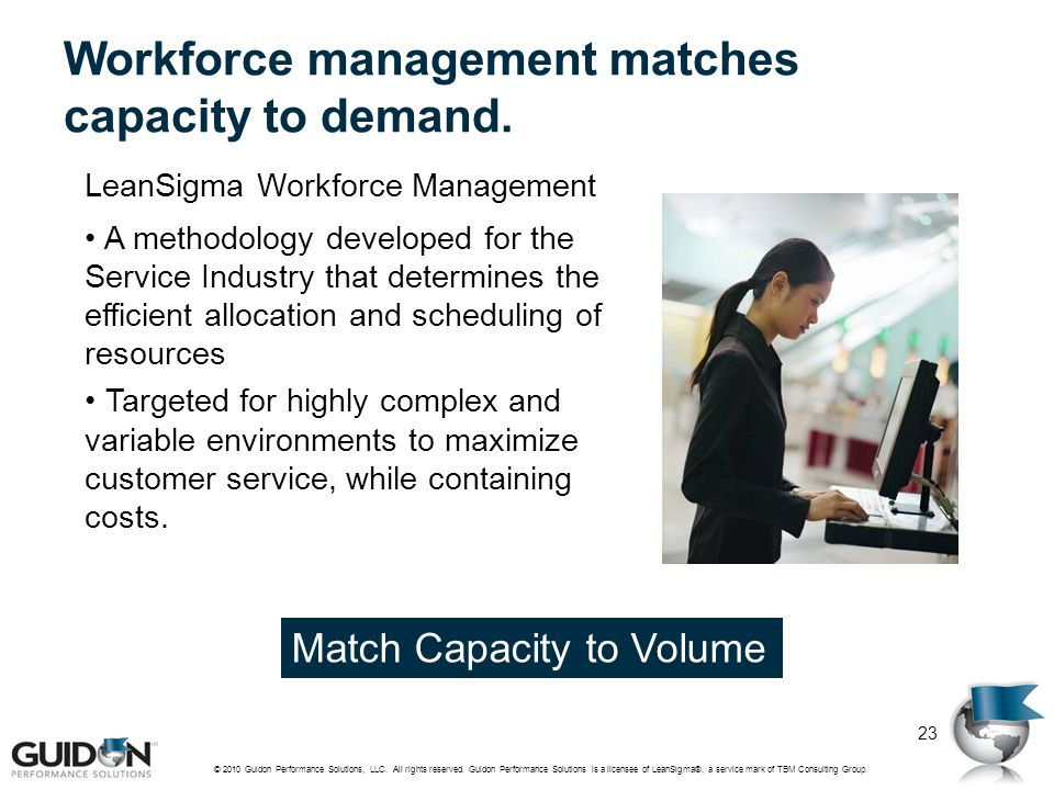 Workforce management matches capacity to demand. LeanSigma Workforce Management A methodology developed for the Service Industry that determines the e