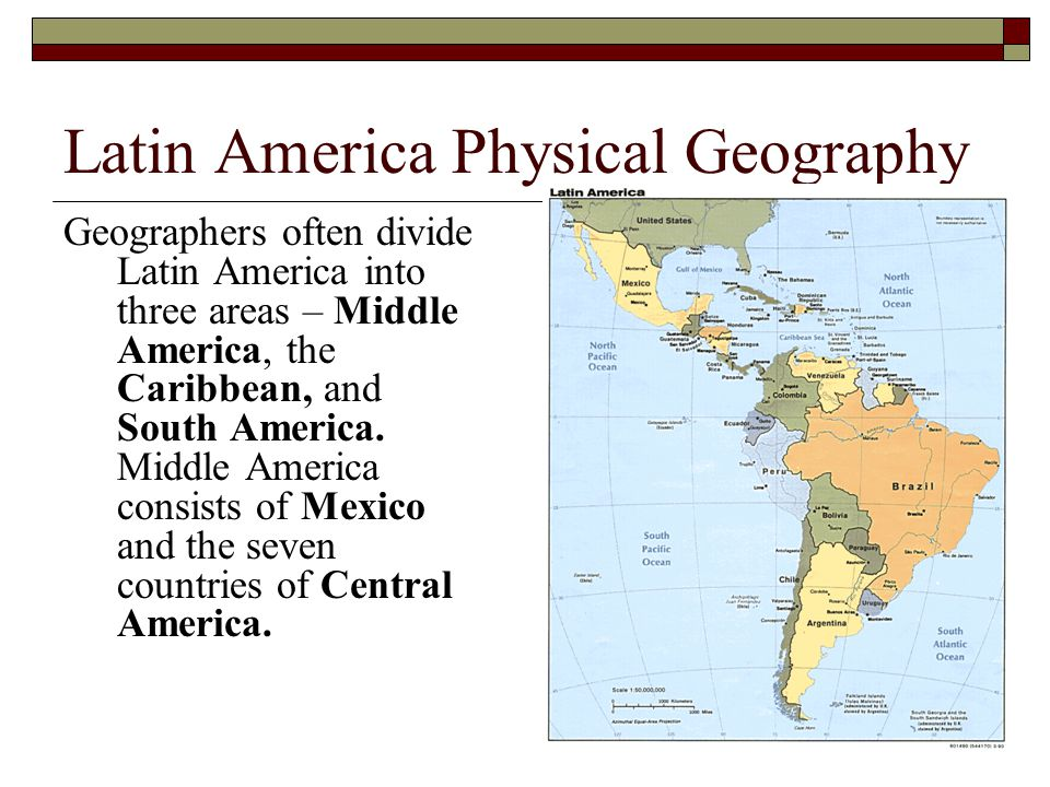 Latin America Physical Geography Geographers often divide Latin America into three areas – Middle America, the Caribbean, and South America. Middle Am