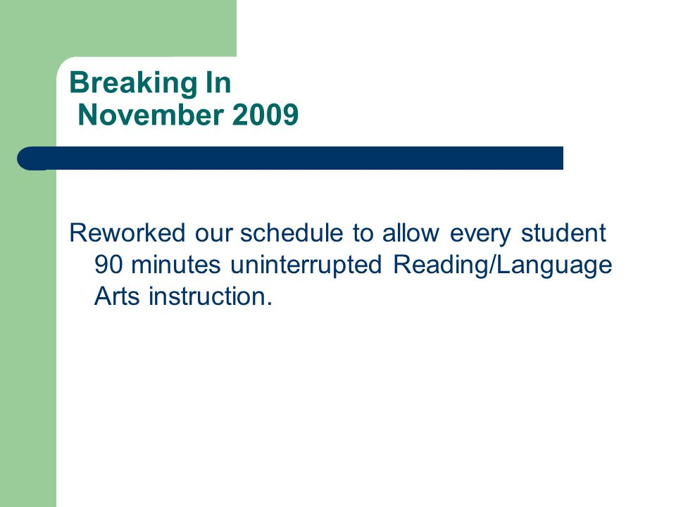 Breaking In November 2009 Reworked our schedule to allow every student 90 minutes uninterrupted Reading/Language Arts instruction.