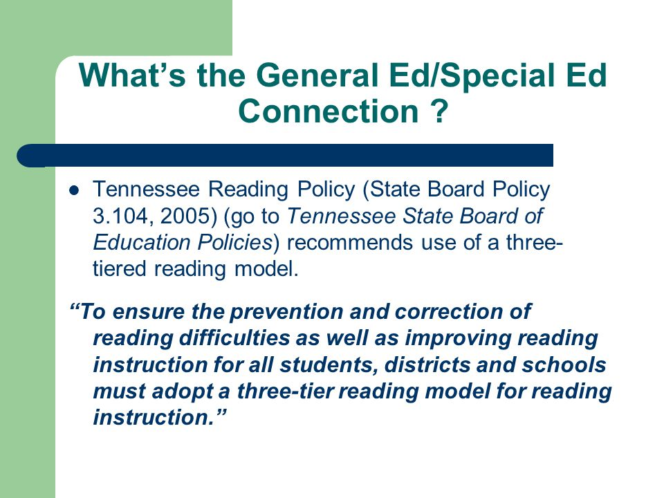 What's the General Ed/Special Ed Connection .