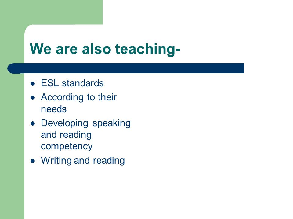 We are also teaching- ESL standards According to their needs Developing speaking and reading competency Writing and reading