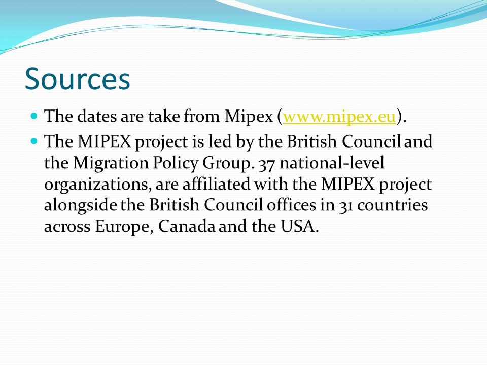 Sources The dates are take from Mipex (www.mipex.eu).www.mipex.eu The MIPEX project is led by the British Council and the Migration Policy Group. 37 n