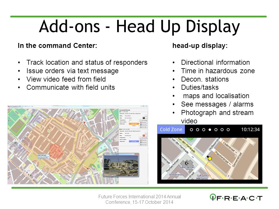 Add-ons - Head Up Display In the command Center: Track location and status of responders Issue orders via text message View video feed from field Communicate with field units head-up display: Directional information Time in hazardous zone Decon.