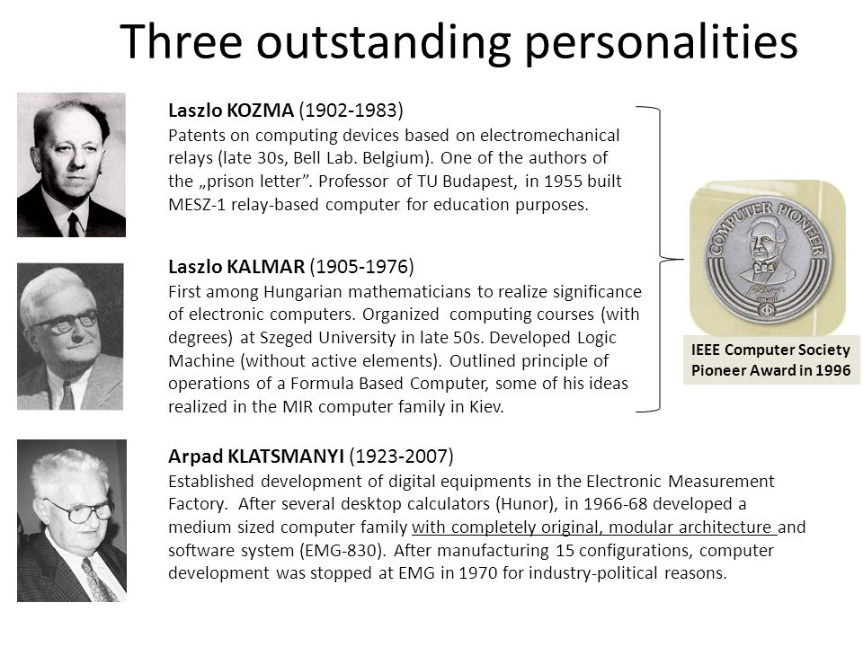 Three outstanding personalities Laszlo KOZMA (1902-1983) Patents on computing devices based on electromechanical relays (late 30s, Bell Lab. Belgium).