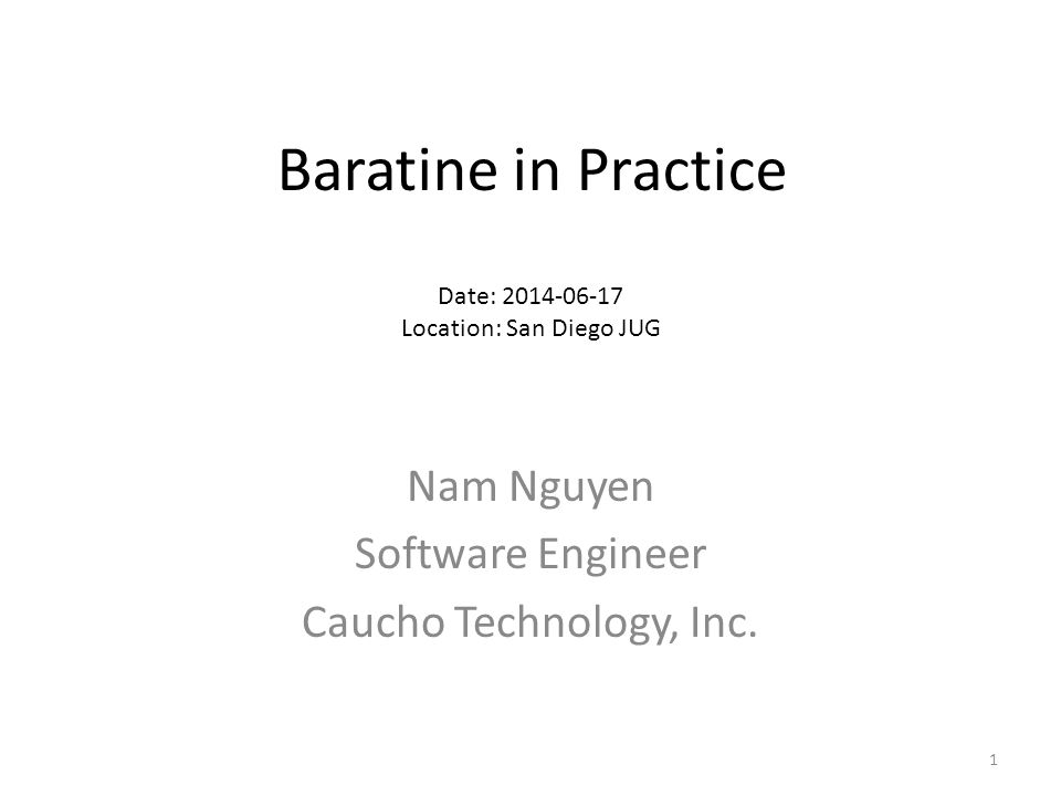 Baratine in Practice Download Install Our first @ResourceService - @Modify - Multiple counters Concepts @Service - implement an example @Workers - implement an example Type of services chart Partitioning and clustering 2