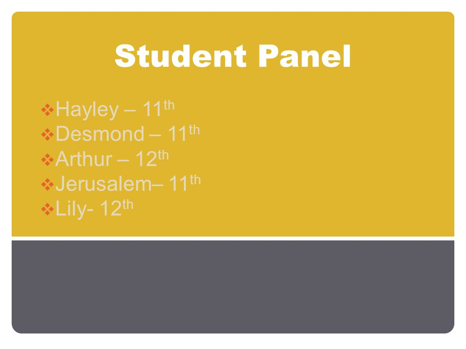 Student Panel  Hayley – 11 th  Desmond – 11 th  Arthur – 12 th  Jerusalem– 11 th  Lily- 12 th