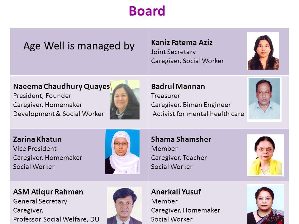 Board Age Well is managed by Kaniz Fatema Aziz Joint Secretary Caregiver, Social Worker Naeema Chaudhury Quayes President, Founder Caregiver, Homemake