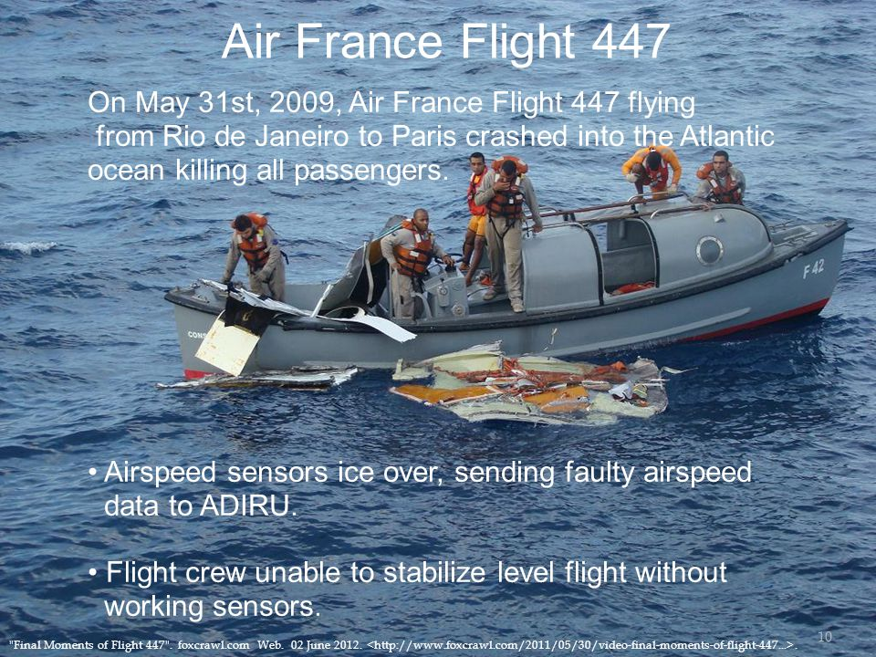 Air France Flight 447 On May 31st, 2009, Air France Flight 447 flying from Rio de Janeiro to Paris crashed into the Atlantic ocean killing all passengers.