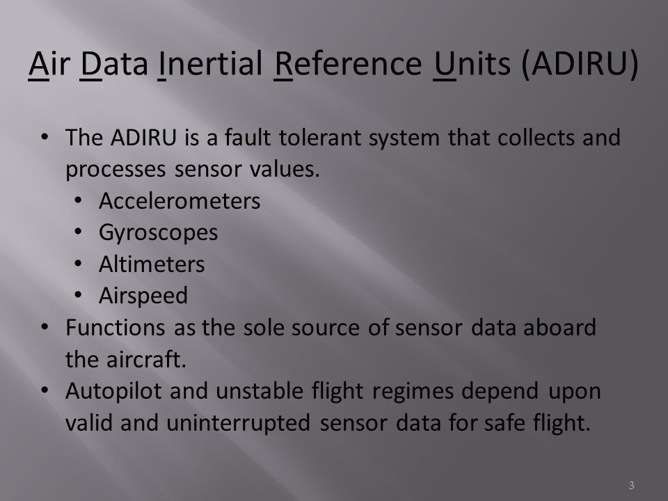 The ADIRU is a fault tolerant system that collects and processes sensor values.