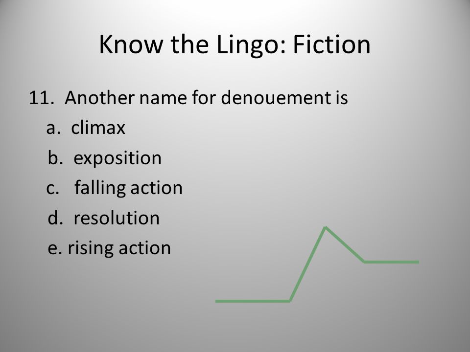 Know the Lingo: Fiction 11. Another name for denouement is a.
