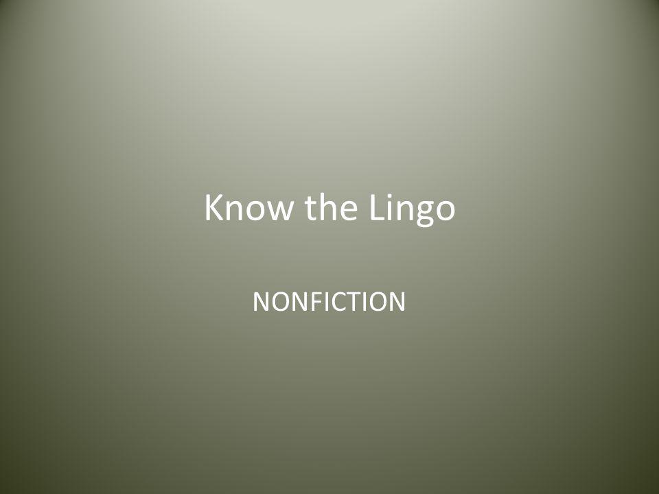 Know the Lingo NONFICTION