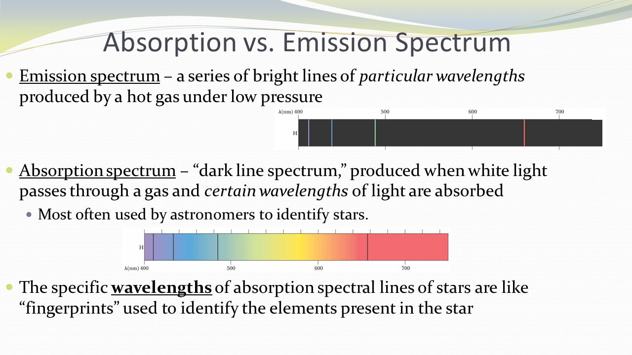 Absorption vs. Emission Spectrum Emission spectrum – a series of bright lines of particular wavelengths produced by a hot gas under low pressure Absor
