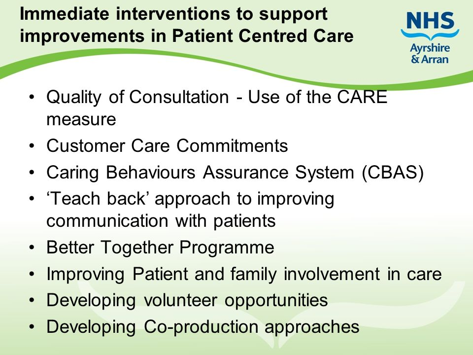 Immediate interventions to support improvements in Patient Centred Care Quality of Consultation - Use of the CARE measure Customer Care Commitments Ca