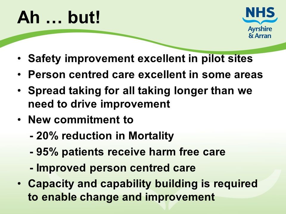 Ah … but! Safety improvement excellent in pilot sites Person centred care excellent in some areas Spread taking for all taking longer than we need to
