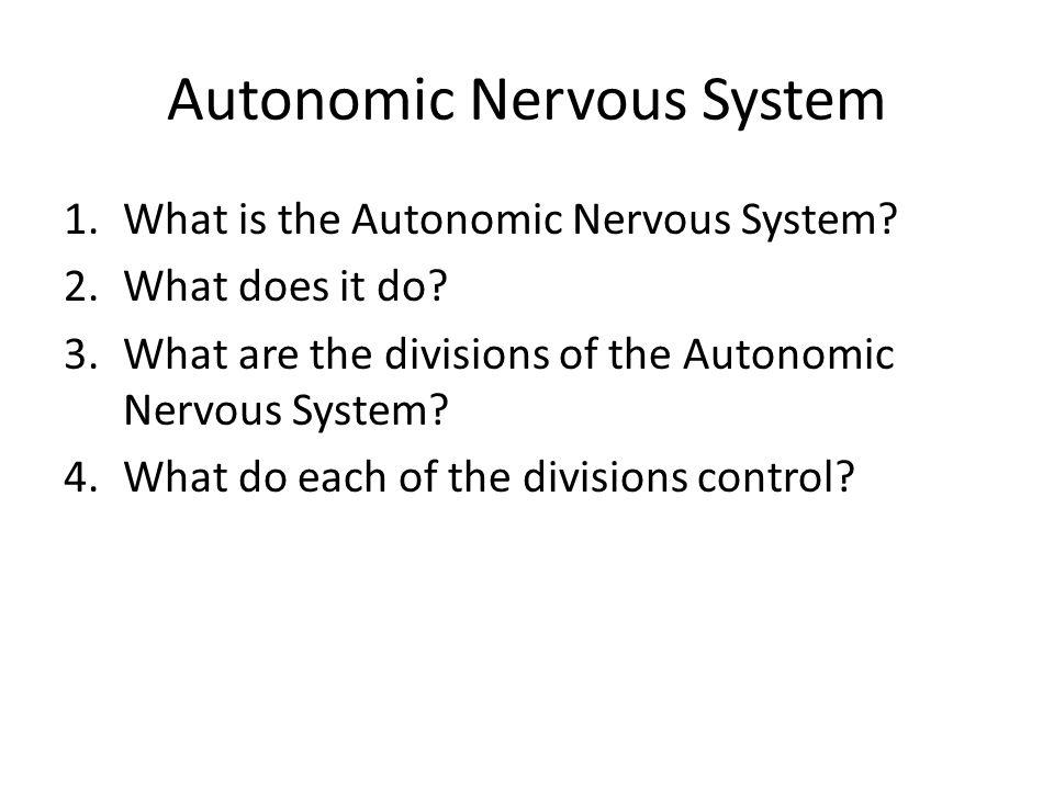 Autonomic Nervous System 1.What is the Autonomic Nervous System? 2.What does it do? 3.What are the divisions of the Autonomic Nervous System? 4.What d