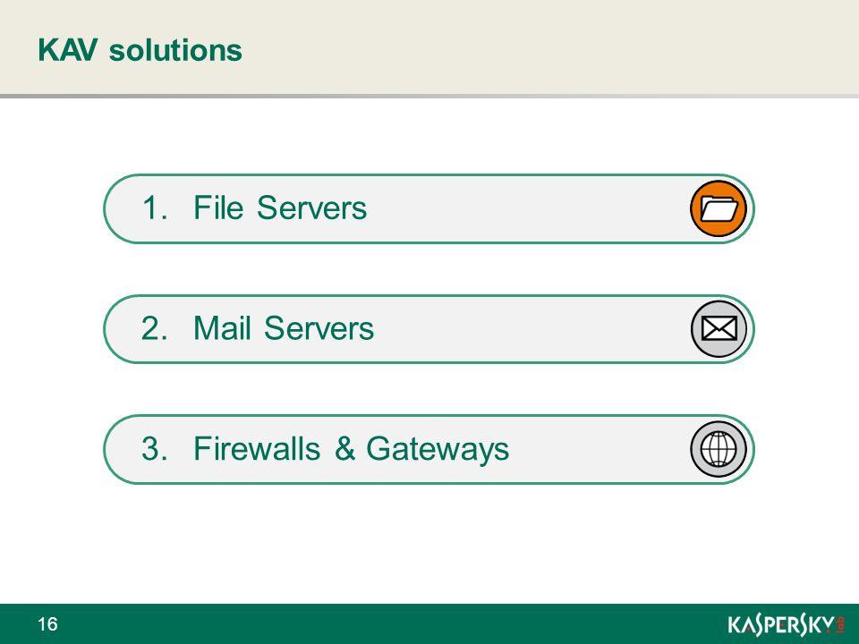 KAV solutions 16 2.Mail ServersMail Servers 3.Firewalls & GatewaysFirewalls & Gateways 1.File Servers