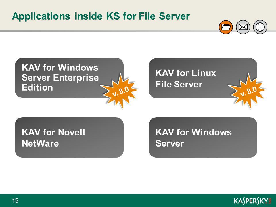 Applications inside KS for File Server 19 KAV for Windows Server Enterprise Edition v. 8.0 KAV for Linux File Server KAV for Novell NetWare KAV for Wi