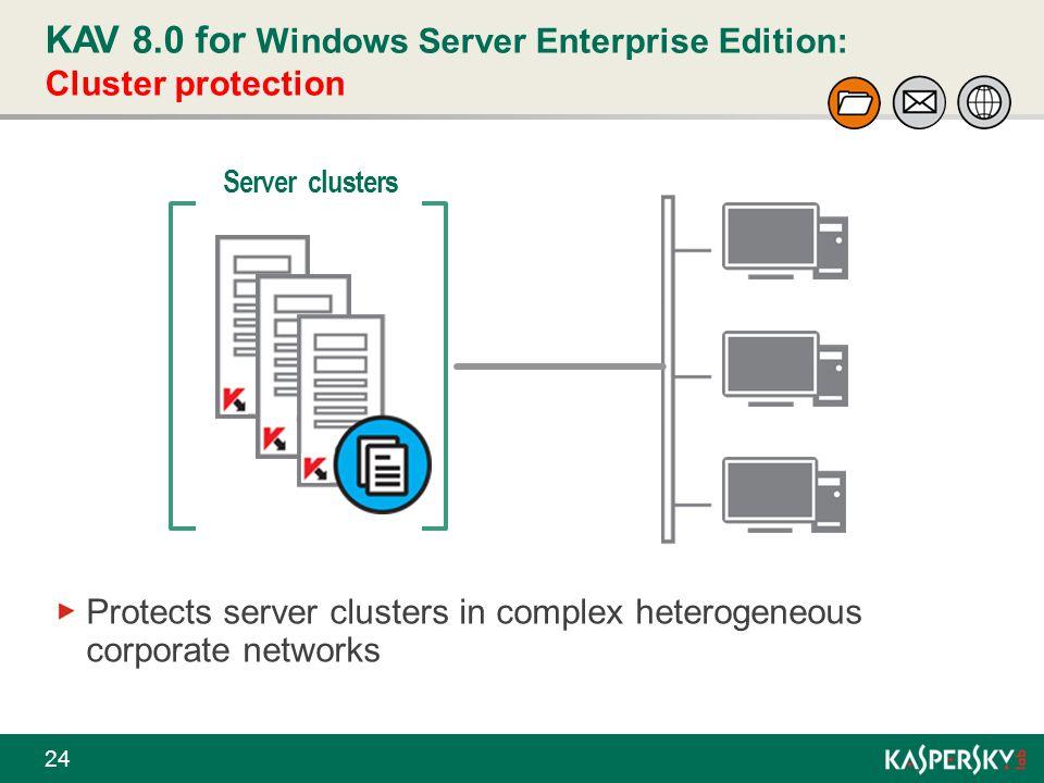 KAV 8.0 for Windows Server Enterprise Edition: Cluster protection 24 Server clusters Protects server clusters in complex heterogeneous corporate netwo