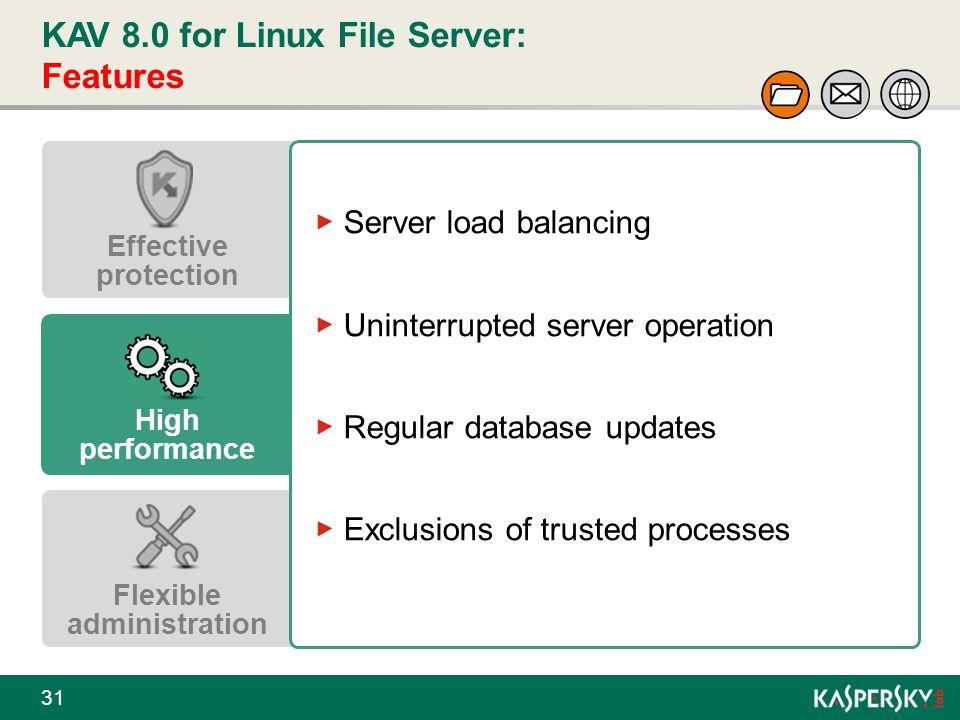 KAV 8.0 for Linux File Server: Features 31 Effective protection High performance Flexible administration Server load balancing Uninterrupted server op