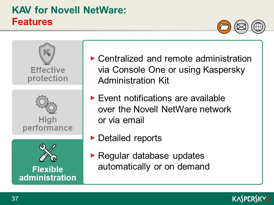 KAV for Novell NetWare: Features 37 Effective protection High performance Flexible administration Centralized and remote administration via Console On